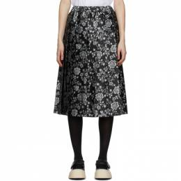 Tricot Comme Des Garcons Black and Grey Floral Jacquard Skirt TF-S016-051