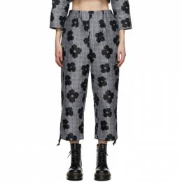 Tricot Comme Des Garcons Grey and Black Floral Jacquard Trousers TF-P003-051