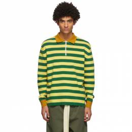 Sunnei Green and Yellow Striped Long Sleeve Polo PO01