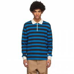 Sunnei Blue and Black Striped Long Sleeve Polo PO01