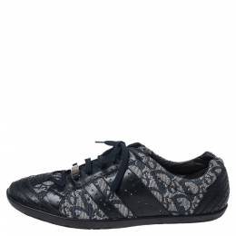 Dior Blue Leather and Diorissimo Canvas Low Top Sneakers Size 40 352454