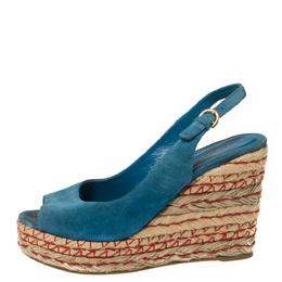 Sergio Rossi Blue Suede Wedge Platform Sandals Size 38 352575