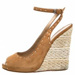 Giuseppe Zanotti Design Brown Suede Leather Peep Toe Wedge Espadrille Ankle Wrap Sandals Size 38 352406