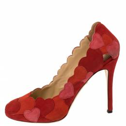 Charlotte Olympia Red/Pink Suede Love Me Heart-Appliquéd Pumps Size 38 352611