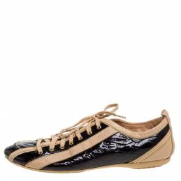 Louis Vuitton Beige/Burgundy Patent Leather And Leather Low Top Sneakers Size 38.5 353183