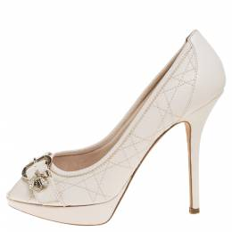 Dior Cream White Cannage Leather Bee Detail Peep Toe Platform Pumps Size 37.5 352297
