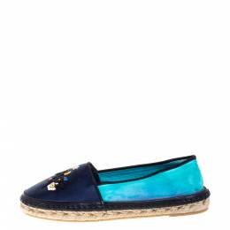 Dior Two Tone Satin Embroidered Slip On Espadrille Flats Size 37 352240