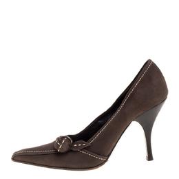 Prada Khaki Brown Stitch Nubuck Leather Knot Pointed Toe Pumps Size 36 352250