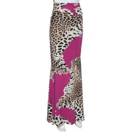 Roberto Cavalli Magenta Animal Print Jersey Maxi Skirt L 352253