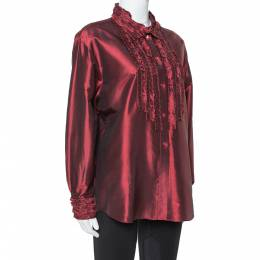 Kenzo Maroon Silk Ruffled Detail Long Sleeve Blouse M 352273