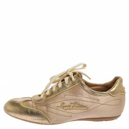 Louis Vuitton Gold/Beige Satin And Leather Low Top Sneakers Size 38.5 353132