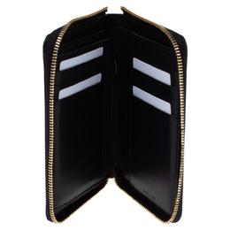 Celine Black Metallic Leather Zip Around Wallet 337054