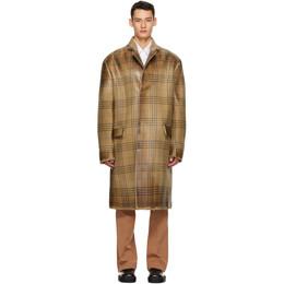 Marni Brown Wool Overcheck Coat TUMU0066MU S53294