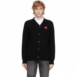 Comme Des Garcons Play Black Wool Double Heart V-Neck Cardigan P1N076
