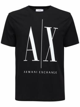 Футболка Из Хлопкового Джерси С Принтом Логотипа Armani Exchange 72IHLF029-MTIwMA2