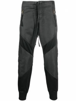 Greg Lauren зауженные брюки с контрастной вставкой AW237