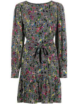 Essentiel Antwerp короткое платье в ломаную клетку с цветочным принтом WEFFORT