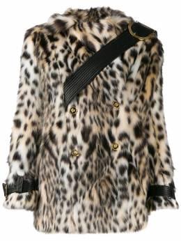 Versace двубортная шуба из искусственного меха с леопардовым принтом A84747A231744