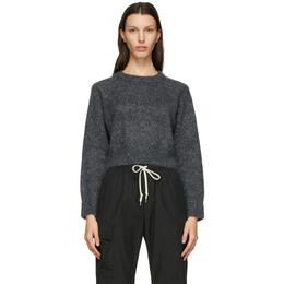John Elliott Grey Cashmere Cropped Sweater WD099P5613A