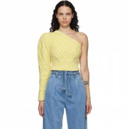 Wandering SSENSE Exclusive Yellow Single-Shoulder Cable Cropped Sweater WGW20944