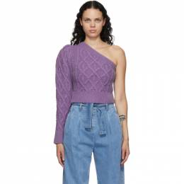 Wandering SSENSE Exclusive Purple Single-Shoulder Cable Cropped Sweater WGW20944