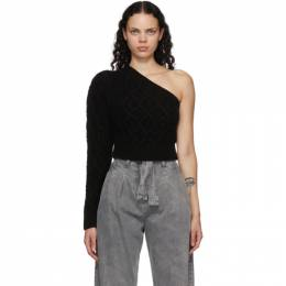 Wandering SSENSE Exclusive Black Single-Shoulder Cable Cropped Sweater WGW20944