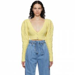 Wandering SSENSE Exclusive Yellow Cable Knit Cropped Cardigan WGW20941