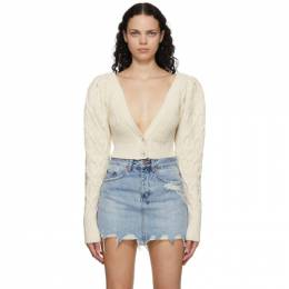 Wandering SSENSE Exclusive Off-White Cable Knit Cropped Cardigan WGW20941