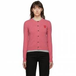 Comme Des Garcons Play Pink Layered Heart Cardigan P1N075