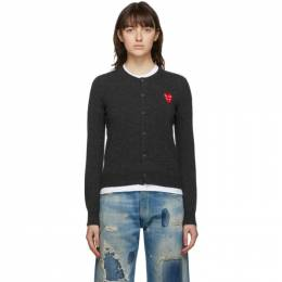 Comme Des Garcons Play Grey Layered Heart Cardigan P1N075