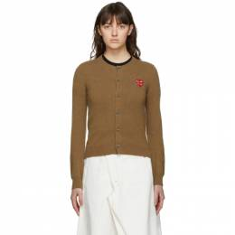 Comme Des Garcons Play Brown Layered Heart Cardigan P1N075