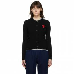 Comme Des Garcons Play Black Layered Heart Cardigan P1N075