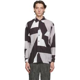 Issey Miyake Men Grey Printed Wrinkle Shirt ME08FJ048