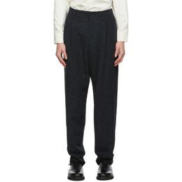 Issey Miyake Men Navy Tweed Trousers ME08FF073