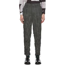 Issey Miyake Men Grey Corduroy Twist Trousers ME08FF083
