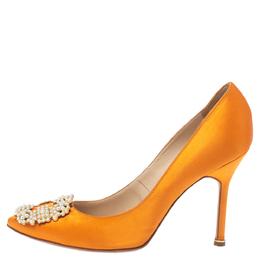 Manolo Blahnik Orange Satin Pearl Embellished Hangisi Pumps Size 37.5 354081