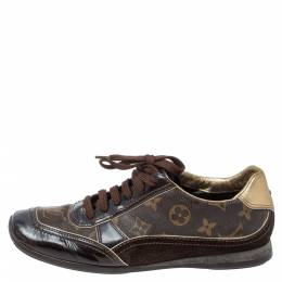 Louis Vuitton Brown Monogram Canvas and Patent Leather Globe Trotter Square Toe Sneakers Size 37.5 354894