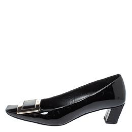 Roger Vivier Black Leather Buckle Detail Pumps Size 36.5 354498