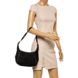 Celine Black Monogram Suede and Leather Shoulder Bag 354234