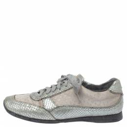 Louis Vuitton Silver/Beige Monogram Fabric and Python Lace Low Top Sneakers Size 38.5 354326
