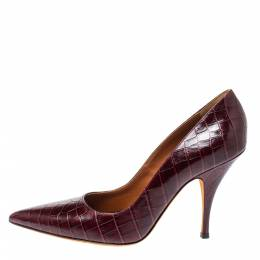 Givenchy Burgundy Croc Embossed Leather Pointed Toe Pumps Size 40 354487