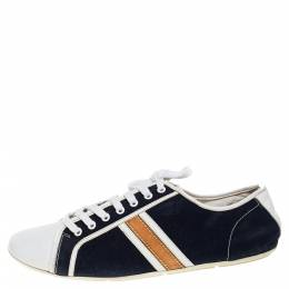 Louis Vuitton White/Blue Canvas And Leather Low Top Sneakers Size 39 353389