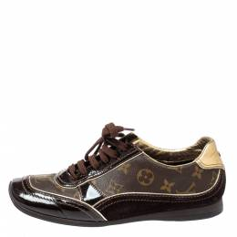 Louis Vuitton Brown Patent Leather And Monogram Canvas Lace Up Sneakers Size 38.5 354500