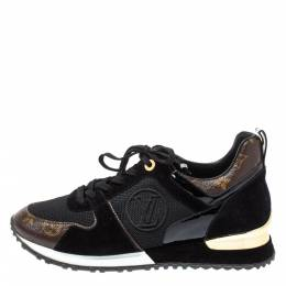 Louis Vuitton Black Monogram Canvas, Leather and Mesh Run Away Lace Up Sneakers Size 40 354530