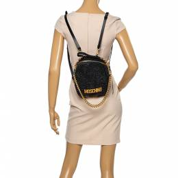 Moschino Black Glitters and Leather Backpack 354195