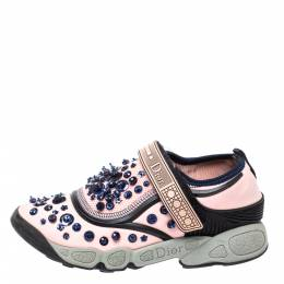 Dior Pink Stretch Fabric Fusion Embellished Low Top Sneakers Size 35 354528