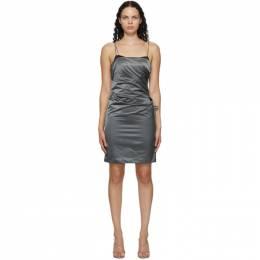 Helmut Lang Grey Satin Evening Mini Dress K06HW607