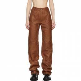 Telfar Brown Leather Boot Cut Trousers FW20-L-01
