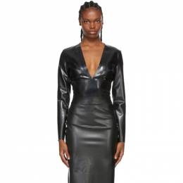 Saint Laurent Black Latex Bodysuit 636723 Y7B08