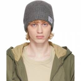 Visvim Grey Wool Rib Knit Beanie 0120203003019